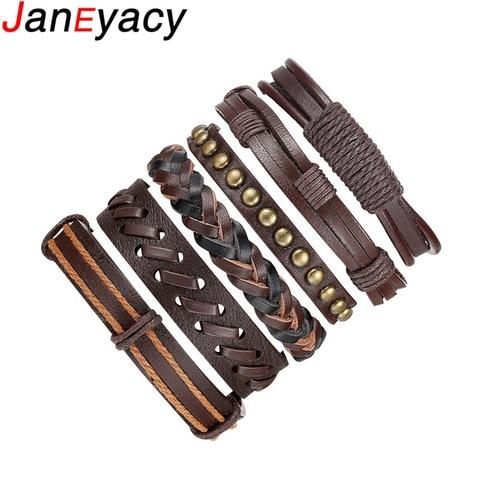 Мужской кожаный браслет janeyacy винтажный в стиле панк женские