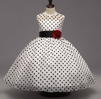Girls Black Polka Dot Organza Princess Dress Baby Girl Events Wedding Party Ball Gowns For Girl