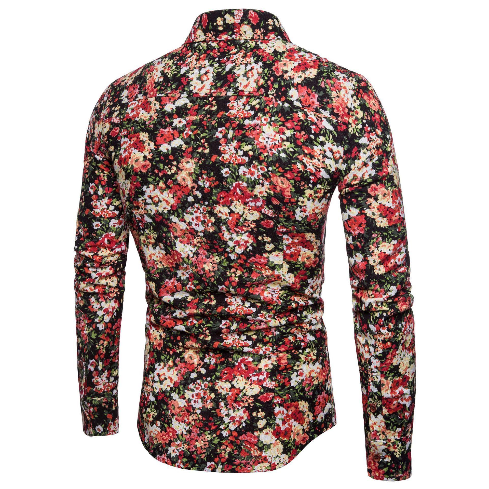 Social Shirt Men 39 s clothing Hawaiian Blouse Male Casual Floral Shirts Men Linen Long sleeve Slim New in Casual Shirts from Men 39 s Clothing