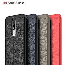 hot deal buy carbon fiber pu leather skin case for nokia 5.1 plus / nokia 5.1 plus x5 case soft cover for nokia 5.1 plus coque fundas etui