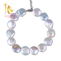 [NYMPH]Pearl Jewelry Fashion 12 13mm Big Pearl Wide Anklets Jewelry Pearl Charm Anklets Chain Link Anklets Women For Party[F201]