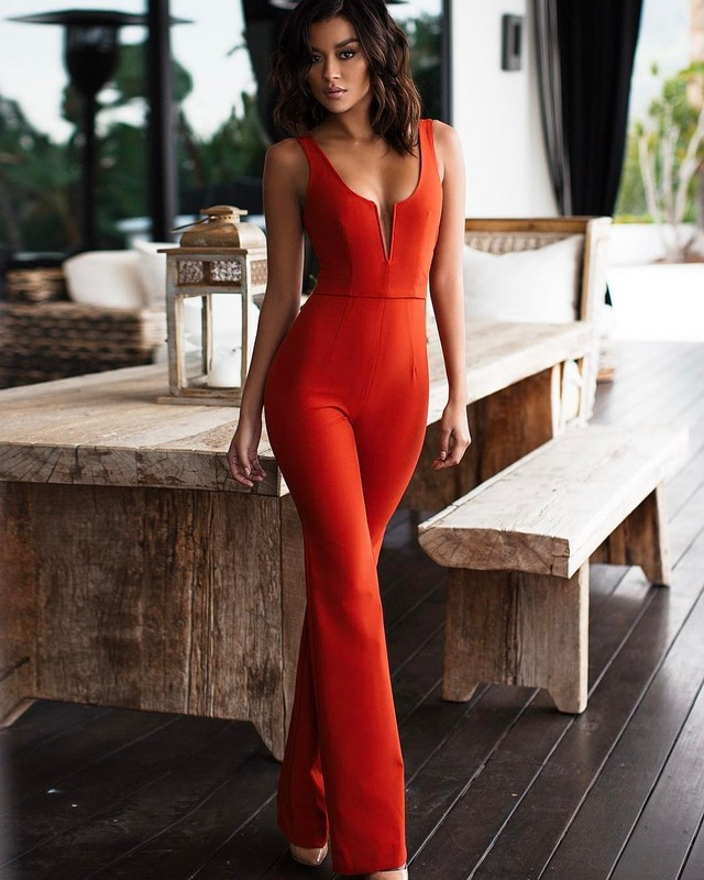 wholesale new Jumpsuits Black and red Stretch knitting Fashion sexy woman Beading bandage Rompers H1718