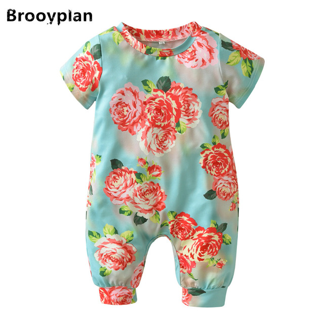 a33d54fb53fa 2018 Summer Fashion Baby Girls Rompers Short Sleeve Peony Flowers ...