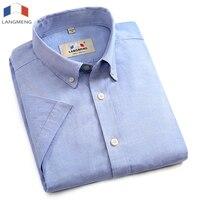 Langmeng plus size 5XL 100% katoen mens shirt mannen jurk shirts mode zomer hoge kwaliteit korte mouw mannelijke shirt wit blauw