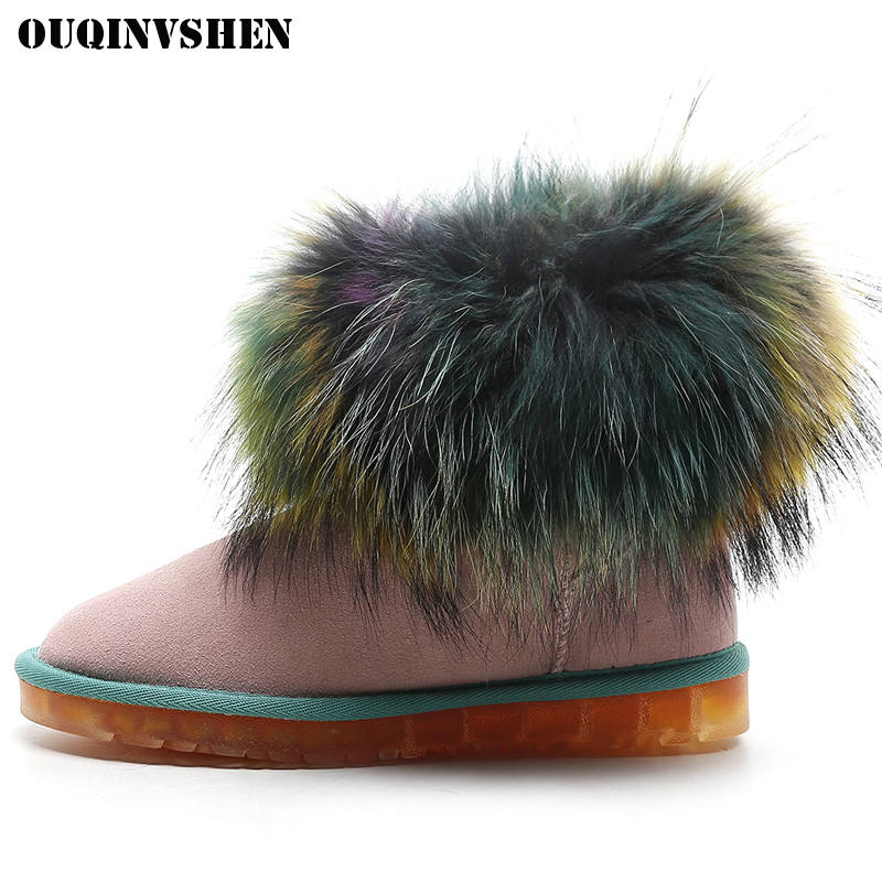OUQINVSHEN Round Toe Mixed Colors Women Snow Boots Winter Fur Animal hair Ladies Snow Boots Casual Fashion Wool Flat Women Boots ouqinvshen round toe lace up women boots fashion mixed colors women ankle boots new winter short plush cross tied ladies boots