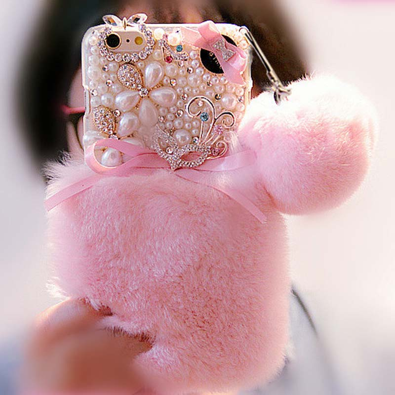 imágenes para Capa de pelo de piel de conejo rex real case para samsung galaxy j3 j7 J2 J1 J5 2016 2015 J320 J710 J120 Diamante coque pompón perla Fundas