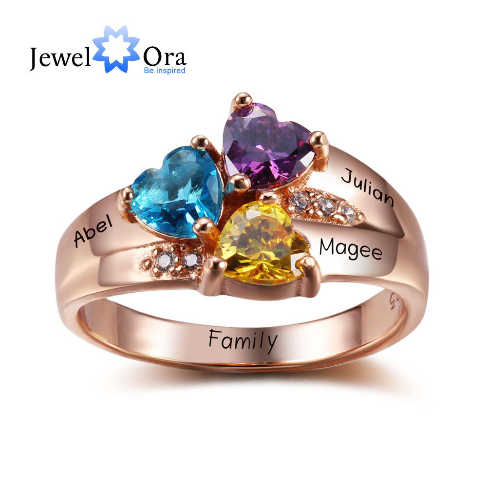 Personalized Engrave Jewelry 3 Birthstone Mothers Rings 925 Sterling Silver Name Ring Gift For Mother Day (JewelOra RI102345) personalized birthstone ring 925 sterling silver heart stones engrave name jewelry engagement gift mother rings ri101793