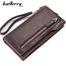Baellerry Men Wallets Business Style Long PU Leather Purse Zipper Lots Of Card Holder Cell Phone Pocket Quality Money Bag