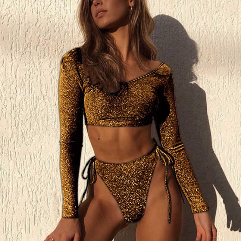 Strój kąpielowy z długim rękawem kobiet złoty Sexy Bikini Set Push Up Bikini 2019 Mujer cekiny stroje kąpielowe kobiety lato Top stroje kąpielowe Femme