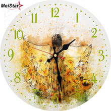 MEISTAR Vintage Wooden Clocks Innocent Child Design Silent Living Office Kitchen Home Decor Watch Wall Art Large