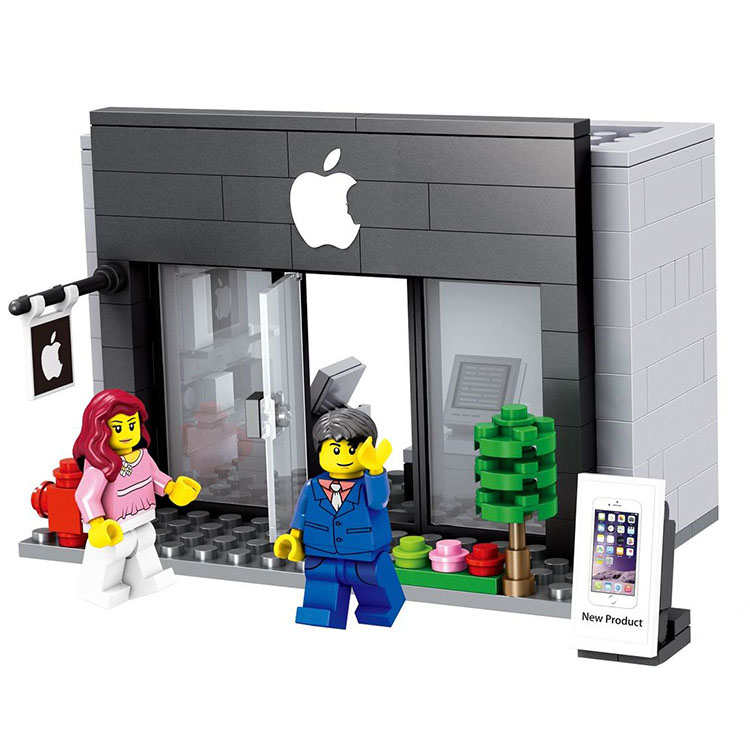 City Series Mini Street Model Store Shop with Apple Store McDonald`s Building Block Toys Compatible with Lego Hsanhe