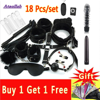 Lots Sex Toys for Women Men Handcuffs Nipple Clamps Whip Spanking Sex Silicone Anal Plug Butt Bdsm Vibrator Bondage Set ST256