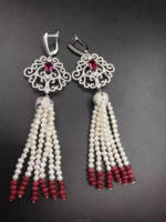 freshwater pearl white and red jade hook earrings wholesale beads nature FPPJ woman 2017