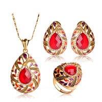 Romantic Love Heart Pendant Necklace Earrings Ring Set For Women Wedding Engagement Bijoux Gold Color Enamel Crystal Jewelry Set