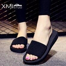XMISTUO Été Femmes Sandales Pantoufles De Mode Tissu Supérieur Sandales des Chaussures À L'extérieur 3 CM Bas-Talons Plage Sandales Diapositives 4 couleur 7046