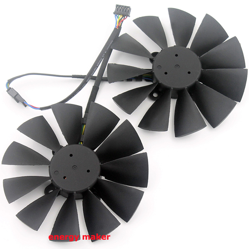 free shipping 2pcs/lot radiator computer cooler fan for ASUS STRIX GTX970 gtx 980 video VGA Graphics Card cooling computer radiator cooler fan for asus strix gtx980ti 980ti grahics card vga cooling system