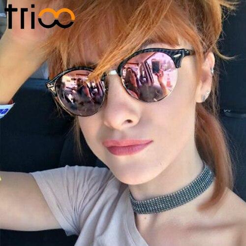TRIOO Polarisierte Damen Sonnenbrille Runde Linse Brand Designer Shades Semi Rimless Fashion Sonnenbrille UV400 Classic Eyewear Lunette