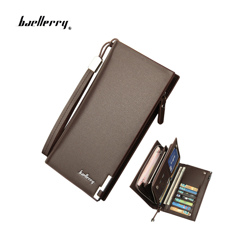 Baellerry Business Men's Wallets Solid PU Leather Long Wallet Portable Cash Purses Casual Standard Wallets Male Clutch Bag brand baellerry business men s leather wallets solid zipper purse portable cash purses male clutch phone bag male wallets