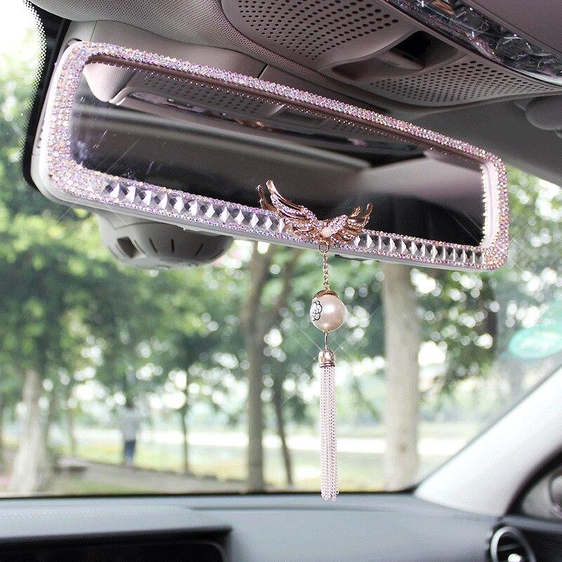 Muniuren 1 Pcs Auto Diamant Interieur Achteruitkijkspiegel Decoratie Crystal Angel Vleugels Auto Spiegel Voor Meisjes Vrouwen Auto Accessoires Interior Mirrors Aliexpress