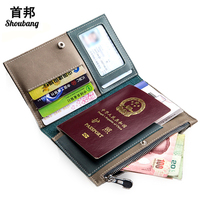 Genuine Leather Passport And Travel Document Holder Multifunctional Passport Cover Zipper Credit Card Bifold Wallet
