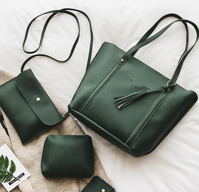 4pcs/1Set Lichee Pattern Brief Big Capacity Female Wallet Handbag Fashion Shoulder Messenger Bag Set #1723 Women Crossbody Bag