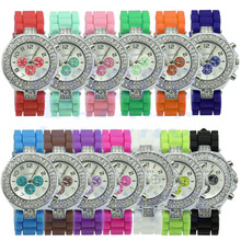 New Silicone Crystal Quartz Ladies Mulheres Jelly Relógio de Pulso Dial Moda