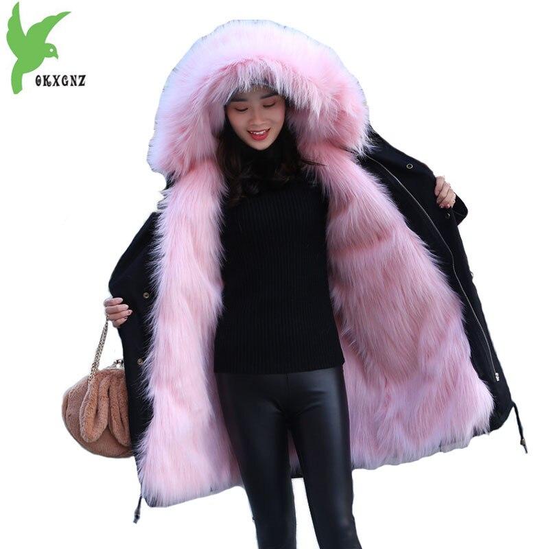 Зима искусственного меха лисы куртка Паркера Для женщин 2018 меховой воротник с капюшоном пальто Большие размеры теплая дутая куртка Женская