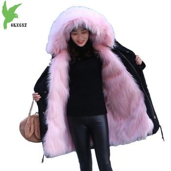Chaqueta de invierno de piel de zorro de imitación con capucha para mujer  2018 Cuello de piel Abrigo con capucha talla grande gruesa abrigo de mujer  de ... 275f7bc77612