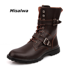 цены Misalwa Male Snow Boots Black Brown Natural Leather Stylish Fashion Plush Wool Winter Monk Strap Motorcycle Boots Big Size 38-49