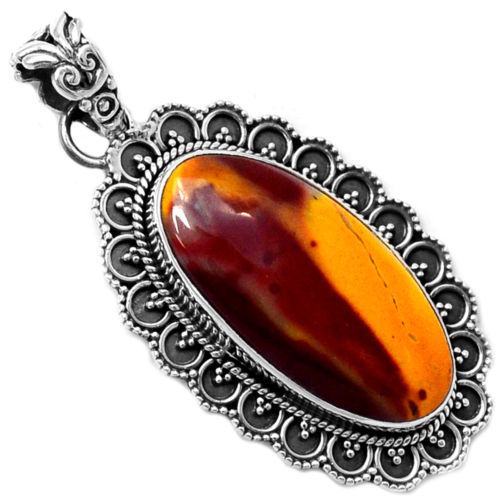 Hand make Genuine Moonkaite Pendant 100% 925 Sterling Silver Jewellery KP0413 48mm 7.1g