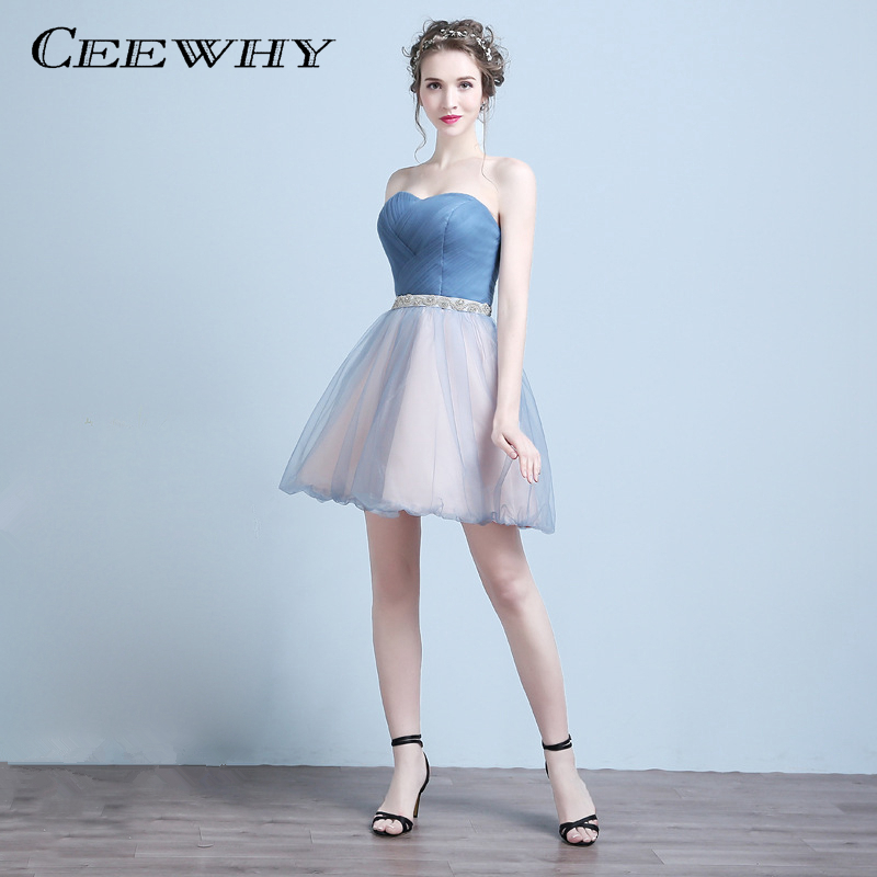 CEEWHY Strapless Ball Gown Formal Dress Bride Banquet Short Party Dresses Crystal Cocktail Dresses Above Knee Homecoming Dresses