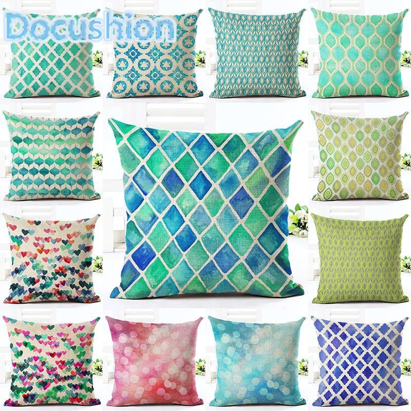 Nordic Vintage Cushion Cover Colorful Plaid Geometric Cushions For Sofa Seat Luxury Home Decor 45