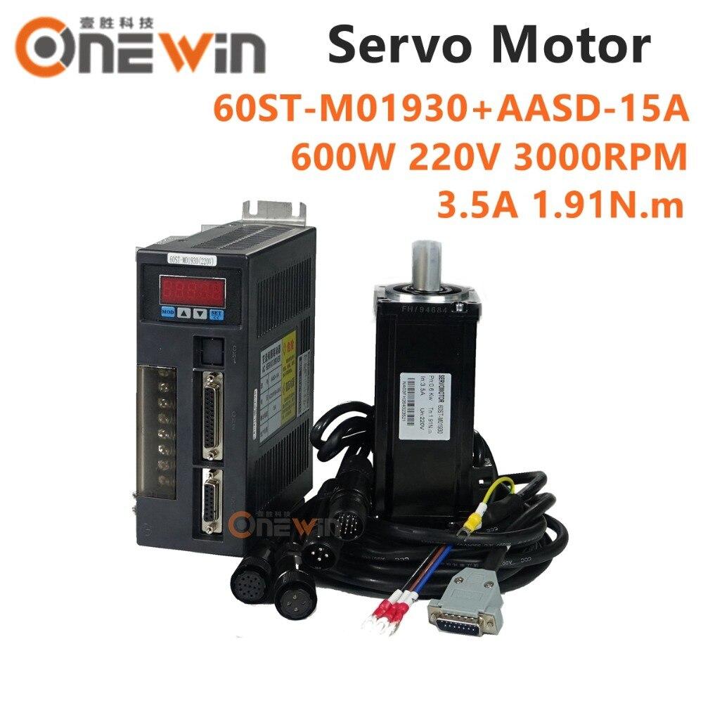 600 w AC servo motor kit 60ST-M01930 + AASD-15A driver diametro 60mm 220 v 1.91NM 3000 rpm