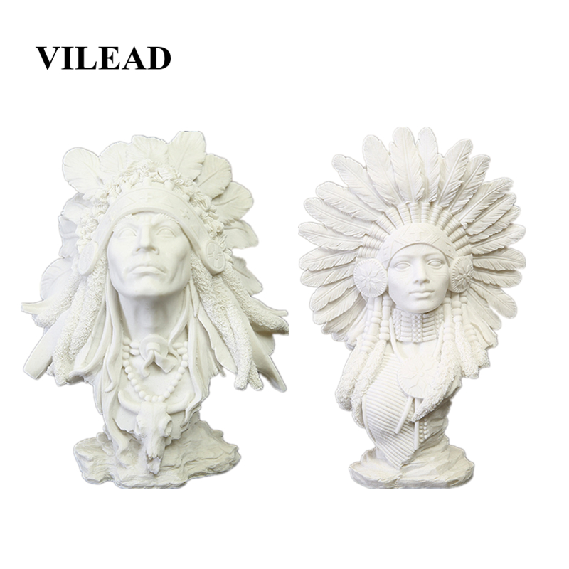 VILEAD 30cm Sandstone Indian Woman Statuettes Creative People Figurines Home Decoration Accessories Window Display Cabinet