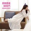 Outono inverno Princesa Camisola de Algodão 100% Real Nightgowns Pijamas Longos Brancos das Mulheres Sleepwear pijamas femininos