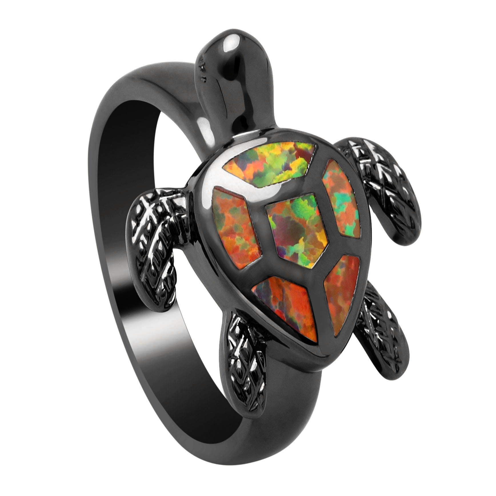 Vnfuru Red Fire Opal Rings For Women Black Gold Color Tortoise Jewel Natural Jewelry Vintage Sea Turtle