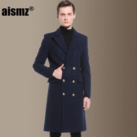 Aismz 2017 Newest Men S Clothing Double Breasted Military Retro Wool Pea Coat Europe Man Warm