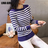Liva Girl Knitted Pullovers Women Sweaters 2017 Autumn Winter Fashion O Neck Striped Long Sleeve Thin