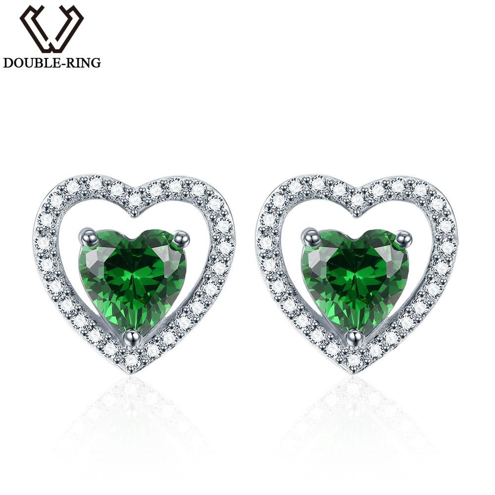 DOUBLE-R 925 Sterling Silver Náušnice pro Náušnice Srdce Dívka Vytvořeno Náušnice Náušnice Emerald Gemstone