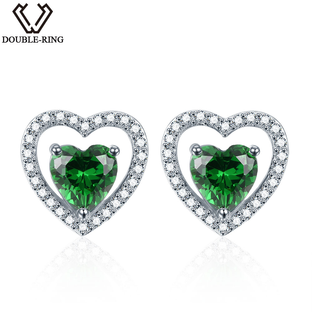 DOUBLE-R 925 Sterling Silver Earrings For Girl Heart Earrings Created Emerald Gemstone Jewelry Stud Earring