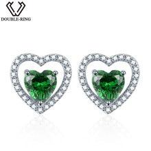 DOUBLE-R 925 Sterling Silver Earrings For Girl Heart Earrings Created Emerald Gemstone Jewelry Stud Earring