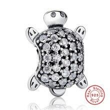 2016 New Arrival 925 Sterling Silver Sea Turtle Charm Fit Pandora Original Bracelet Neckalce Authentic Jewelry Gift