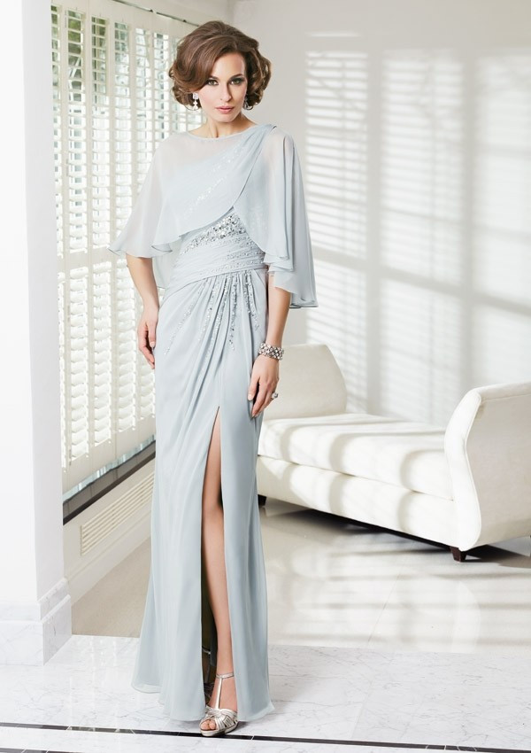 1002Fashion Sexy Side Slit Silver Beaded Ruched Chiffon One Shoulder Sheath Mother Of The Bride Dresses Size YKK Zipper With Cape