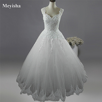 9002 2015 Beads Crystal White Ivory Wedding Dresses With Lace With Slip For Brides Plus Size