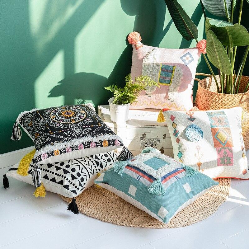 Cojines decorativos para sofá marrocos geométrico preto e branco tufted tassel fronha natal travesseiro
