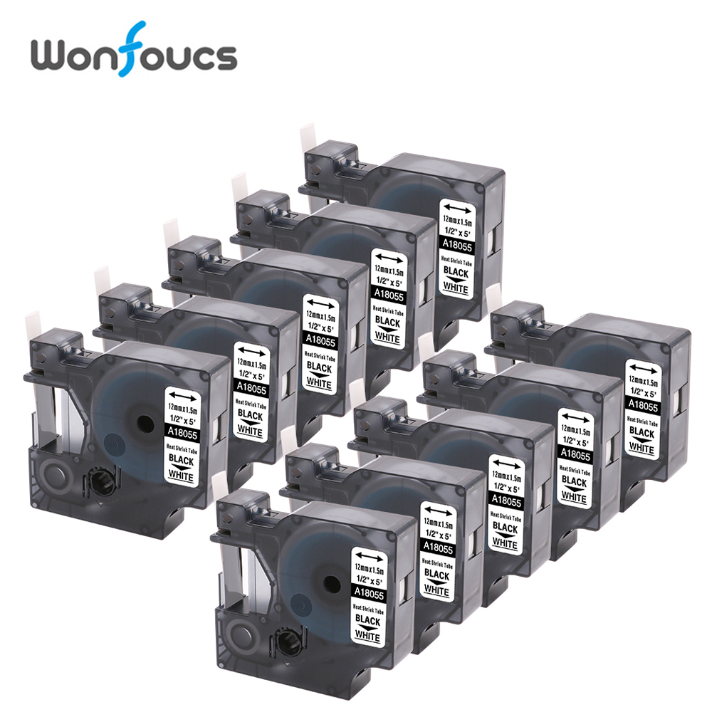 """10 Packs Compatible Dymo Industrial Heat Shrink Tubes 18055 Wire Cable Labels Tapes 1/2"""" Black On White For RhinoPro 5000 6000-in Printer Ribbons from Computer & Office    1"""