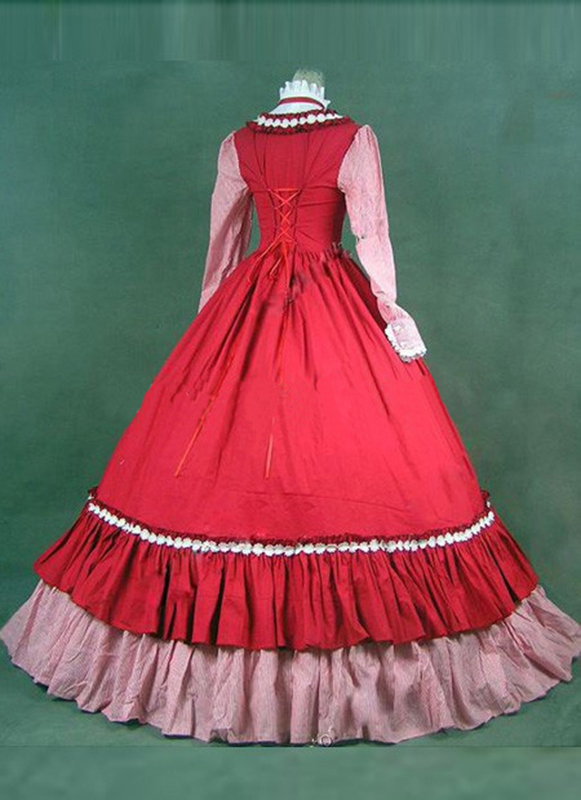 De Fiesta Mascarada Retro Arco Vestidos Gótico Renacimiento Victoriano Clásico Stand As Collar Rojo Rosa Vestido Picture Y Baile Período 1cqzWWpZP6