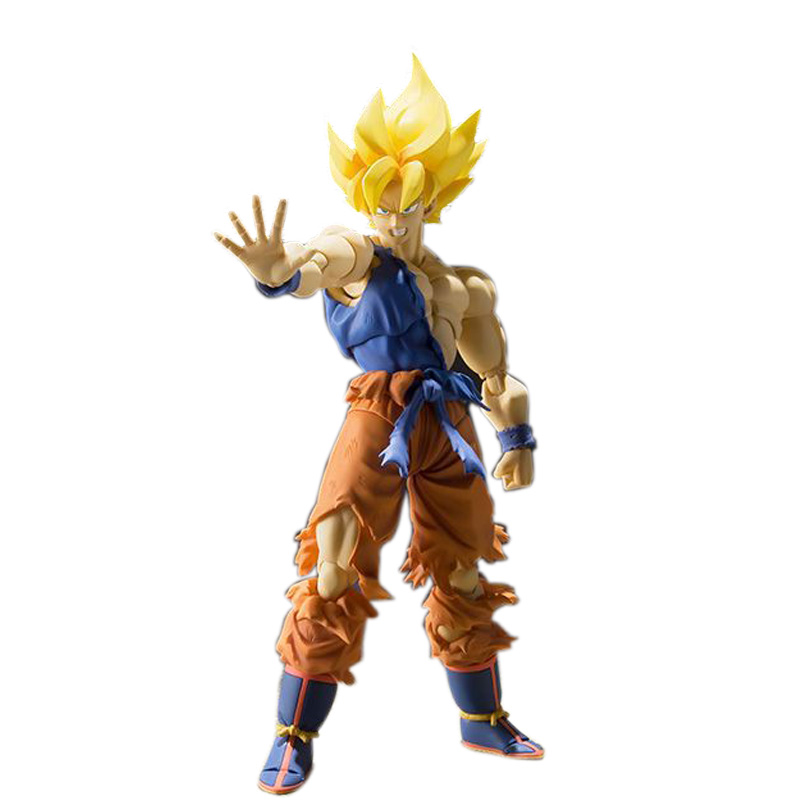 SHFiguarts Dragon Ball Z Super Saiyan Son Gokou Super Warrior Awakening Ver. PVC Action Figure Collectible Model Toy 16cm KT2412 genuine bandai exclusive tamashii nation 10th anniversary s h figuarts dragon ball z son gokou goku kaiohken ver action figure