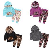 2017 осенняя одежда для детей, комплекты из 2 предметов для мальчиков и девочек, детский Леопардовый топ + штаны, детская повседневная одежда