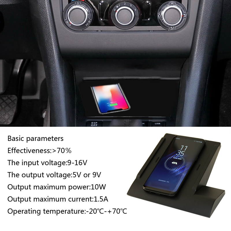For Volkswagen Golf 7 MK7 QI wireless charger fast wireless charging car quick phone charger car accessories for iPhone 8 X Plus for vw teramont 2017 2018 car mount qi wireless charger fast wireless charging accessories for iphone x 8 plus for samsung s7